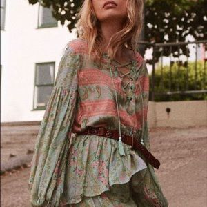 Spell & The Gypsy City Lights Blouse Sage Blush
